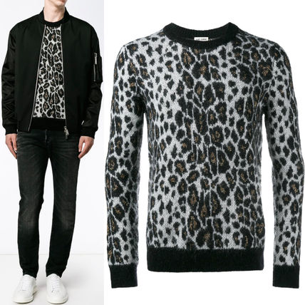 16-17AW SLP262 EMBELLISHED LEOPARD SWEATER