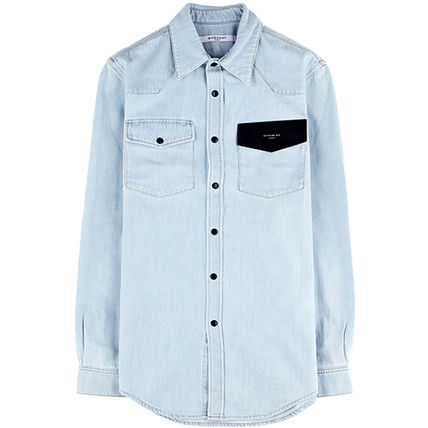GIVENCHY 16SSチェストロゴデニムシャツ0915 460 452_SKY BLUE