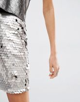 ASOS(エイソス) ミニスカート Missguided Irredescent Sequin Mini Skirt