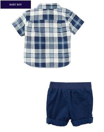 新作♪国内即発 PLAID SHIRT & SHORT SET BOYS 12M