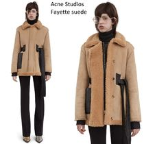 ACNE Fayette suede beigeカーリームートンラムレザージャケット