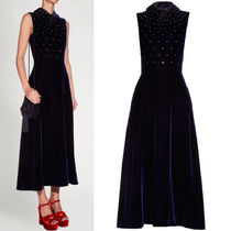 16-17AW WSL896 CRYSTAL-EMBELLISHED SLEEVELESS VELVET DRESS