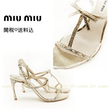 !!SALE!! 関税込 MiuMiu☆Gold Leather Sandal with Ribbon