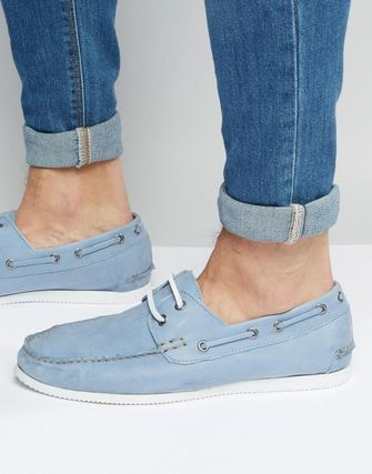 ASOS Boat Shoes In Soft Blue Leather With White Sole
