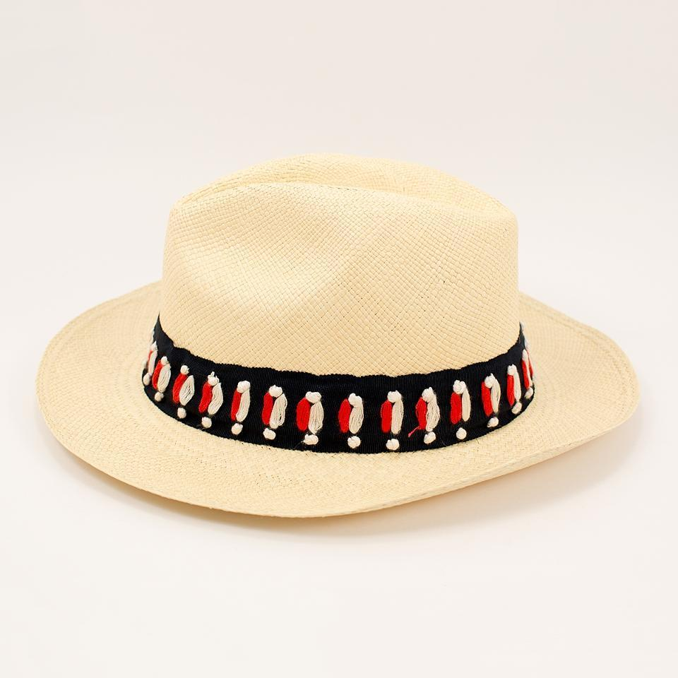 即発★TORY BURCH★Top Stitch Fedora Naturalロゴ付き帽子
