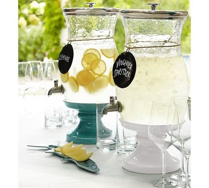 Pottery Barn drink dispenser bottle + pedestal