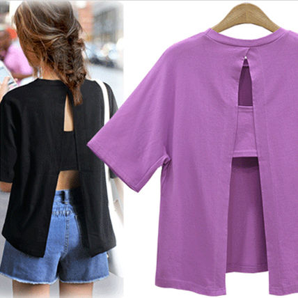 popular back open slit T shirt _ 688
