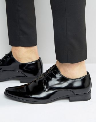 New Look Faux Leather Derby Shoes In Patent Black