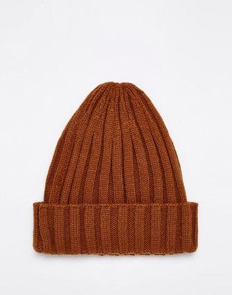 ASOS Mountain Ribbed Beanie In Tobacco