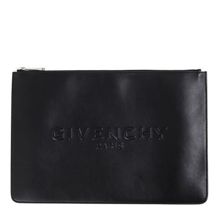 GIVENCHY 16AW embossed inside large clutch back _BLACK