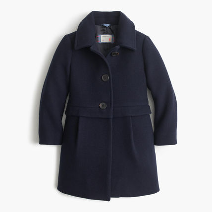 大人も着れる J Crew Girls' stadium-cloth A-line coat (4色)