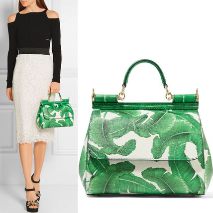 16-17AW DG624 BANANA LEAF PRINTED MEDIUM 'SICILY' BAG