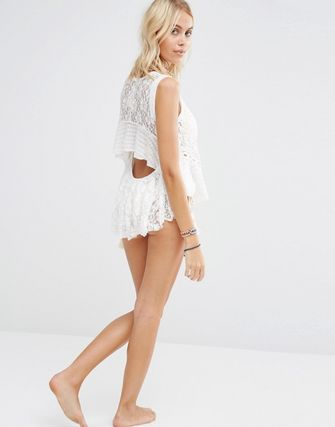 Surf Gypsy White Lace Open Back Top