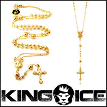 "Tyga愛用BR ""King Ice"" 14K Gold Virgin Mary Rosary ネックレス"