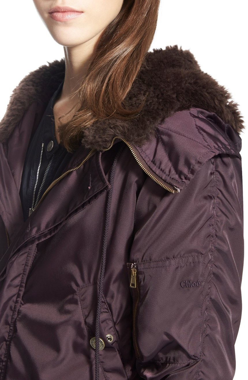 16-17AW C130 LOOK1 HOODED PUFFER JACKET WITH MOUTON COLLAR