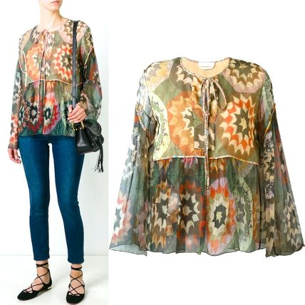 16-17AW C131 ROSACE PATCHWORK PRINT SHEER SILK BLOUSE