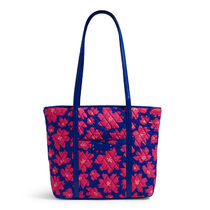 Small Trimmed Vera Tote / Art Poppies with Blue Trim