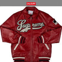 Mサイズ!Supremeシュプリーム STUDDED LEATHER VARSITY JK RED