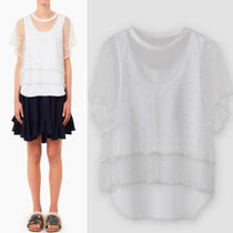 16-17AW C152 MULTI-LAYERED TULLE AND JERSEY EMBELLISHED TOP