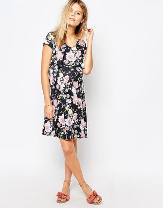 Maternity Printed Double Layer Tea Dress With Frill Back