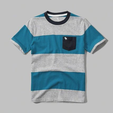 Abercrombie & Fitch トップス 送料込★即日発送 アバクロボーイズ ボーダー Tシャツ ブルー