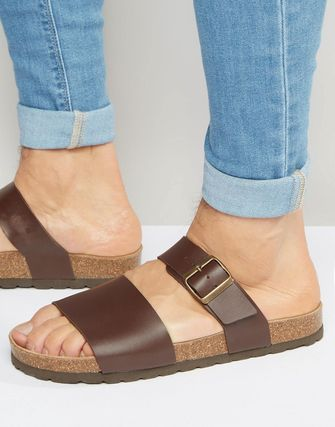 ASOS/サンダル/ASOS Slider Sandals in Brown With Cork Sole