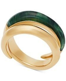 Michael Kors/Gold-Tone and Green Bypass Ring★指輪★シック