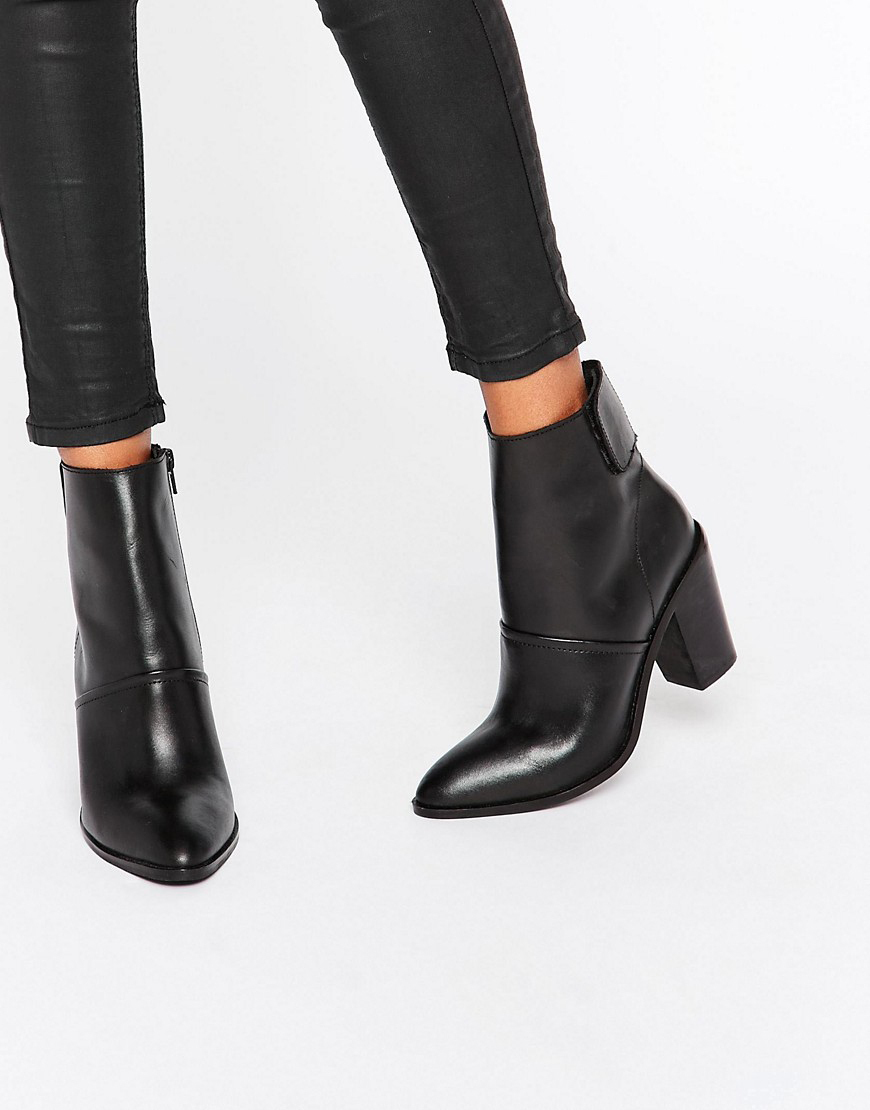 ASOS leather chunky her ankle boots black