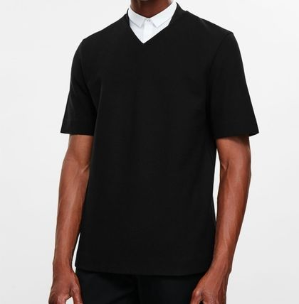 """COS MEN""T-SHIRT WITH STANDING COLLAR BLACK"