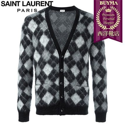 16/17秋冬入荷!┃SAINT LAURENT┃HARLEQUIN KNITTED CARDIGAN