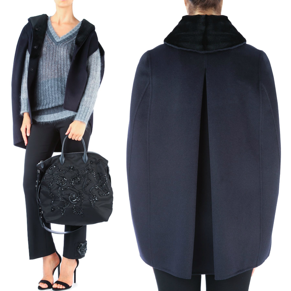 PR100 WOOL CAPE WITH MINK FUR LINING