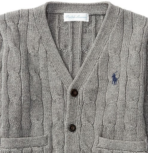 新作♪ 国内発送 4色 CABLE-KNIT COTTON CARDIGAN boys 0~24M