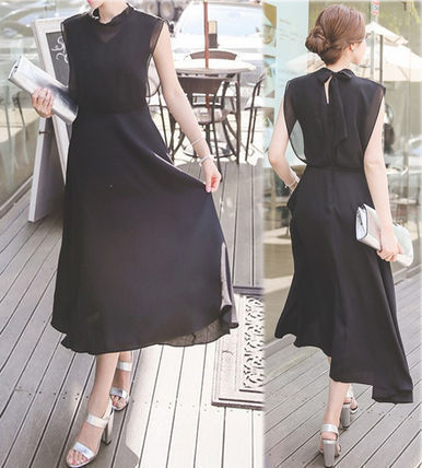 Chiffon back Ribbon now sleeve elegant dress