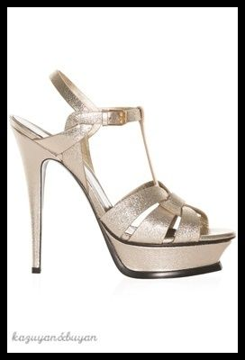 <大人気 >Saint Laurent☆Tribute Metallic Platform Sandals