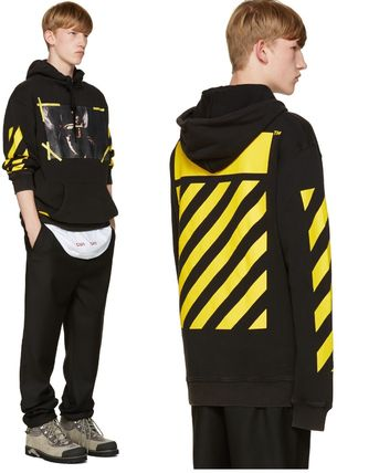 16AW☆Off-White☆7 Opere Print Pulloverフーディー/ブラック