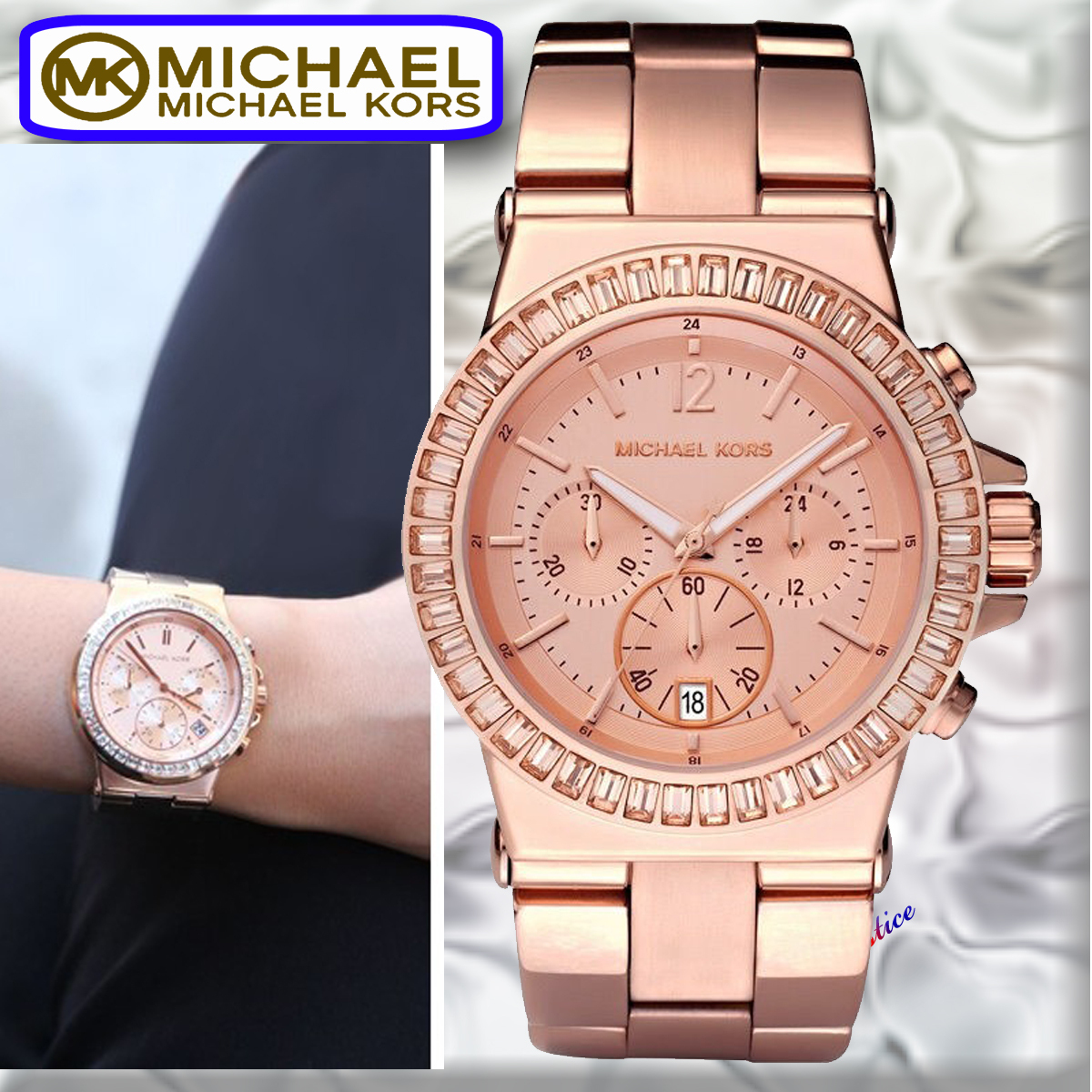 関税込 Michael Kors Dylan Rose Gold Tone Glitz Watch  mk5586