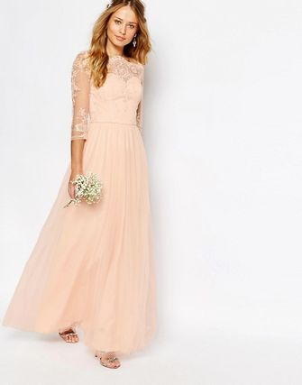 Bardot Neck Maxi Dress with Premium Lace and Tulle Skirt