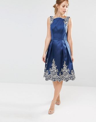 Embroided Midi Dress with Premium Metallic Lace Hem
