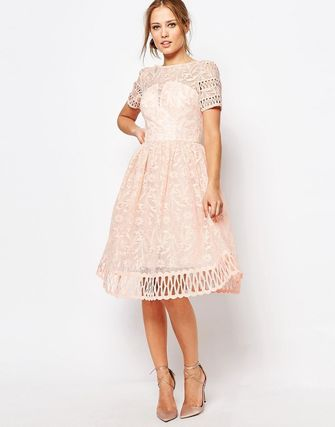 Premium Lace Dress with Cutwork Detail and Cap Sleeve