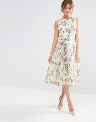 Decadent Satin Midi Dress in Allover Floral Print