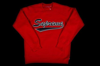 FW16 SUPREME BRUSH SCRIPT CREWNECK RED レッド 送料無料