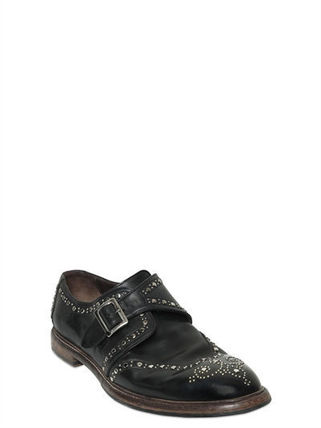 BROGUE STUDDED LEATHER MONK STRAP SHOES