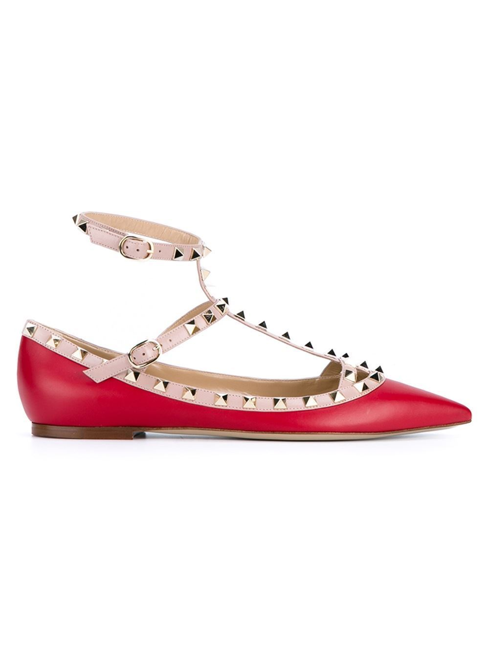 Red shoes VALENTINO rock Stud ballerina flat - BUYMA