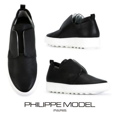 【16AW】 新作 Philippe Model leather 厚底スリッポン Black
