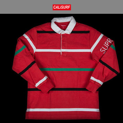 Lサイズ FW2016 シュプリーム SUPREME SHIRT STRIPED RUGBY RED