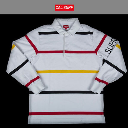 LサイズFW2016 シュプリーム SUPREME SHIRT STRIPED RUGBY WHITE