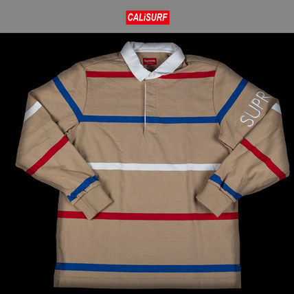 Mサイズ FW2016 シュプリーム SUPREME SHIRT STRIPED RUGBY TAN