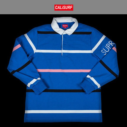 LサイズFW2016 シュプリーム SUPREME SHIRT STRIPED RUGBY ROYAL