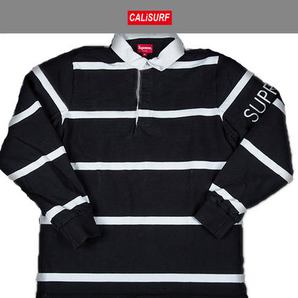 LサイズFW2016 シュプリーム SUPREME SHIRT STRIPED RUGBY BLACK