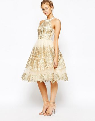 Premium Metallic Lace Midi Prom Dress with High Neck